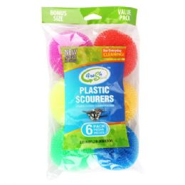96 Units of 6 Pack Plastic Scourers - Scouring Pads & Sponges