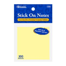 120 Units of BAZIC 100 Ct. 3 X 3 Yellow Stick On Notes - Note Books & Writing Pads