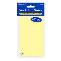 72 Units of BAZIC 100 Ct. 3 X 5 Yellow Stick On Notes - Note Books & Writing Pads