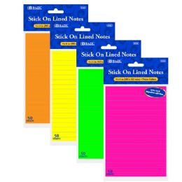 72 Units of BAZIC 50 Ct. 4 X 6 Neon Lined Stick On Notes - Note Books & Writing Pads