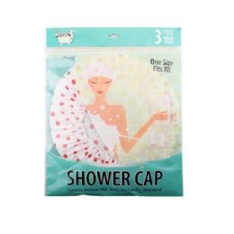 48 Units of 3 Pack Shower Cap - Shower Caps