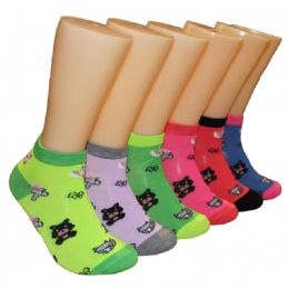 480 Units of Women's Teddy Bear Low Cut Ankle Socks - Womens Ankle Sock