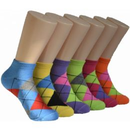 480 Units of Women's Argyle Low Cut Ankle Socks - Womens Ankle Sock