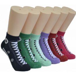 480 Units of Women's Sneaker Print Low Cut Ankle Socks - Womens Ankle Sock