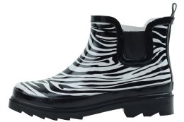 12 Units of Ladies Zebra Printed Rubber Rain Boots - Women's Boots