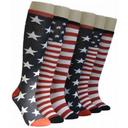 240 Units of Ladies Stars And Stripes Knee High Socks - Womens Knee Highs