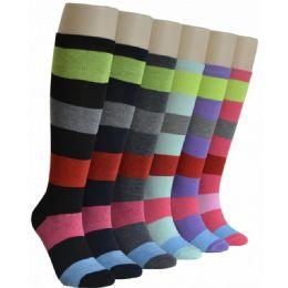 240 Units of Ladies Wide Stripes Knee High Socks - Womens Knee Highs