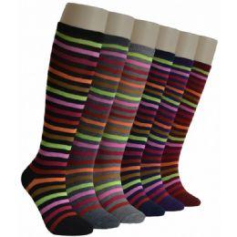 240 Units of Ladies Neon Stripes Knee High Socks - Womens Knee Highs