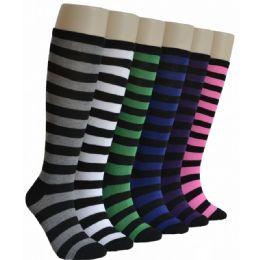 240 Units of Ladies Stripes Knee High Socks - Womens Knee Highs