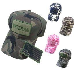 24 Units of Cotton Camo Hat With Detachable Patch Veteran - Baseball Caps & Snap Backs