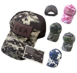 24 Units of Cotton Camo Hat with Detachable Patc USA - Baseball Caps & Snap Backs