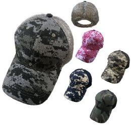 24 Units of Cotton Ripstop Plain Camo Hat Soft Jersey Mesh Back - Baseball Caps & Snap Backs