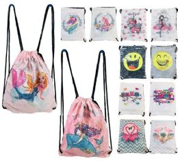 24 Units of Reversible Sequin Drawstring Backpack - Draw String & Sling Packs