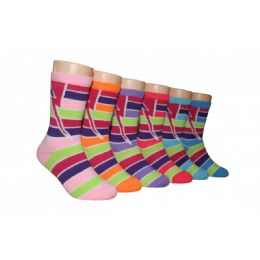 480 Units of Girls Striped Crew Socks - Girls Crew Socks