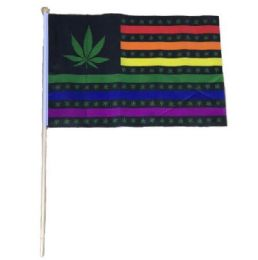 72 Units of Stick Flag Rainbow With Marijuana - Signs & Flags
