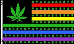 24 Units of Rainbow Flag With Marijuana - Signs & Flags