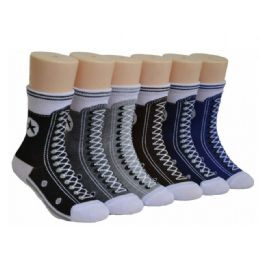 480 Units of Boys Sneaker Print Crew Socks - Boys Crew Sock