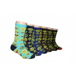 480 Units of Boys Emoji Print Crew Socks - Boys Crew Sock