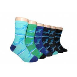 480 Units of Boys Shark Print Crew Socks - Boys Crew Sock