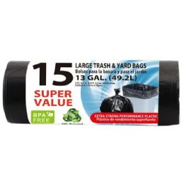 48 Units of 15 Count Xtratuff Trash Bag Roll - Garbage & Storage Bags