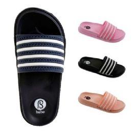 40 Units of Women's Striped Slide Slippers - Women's Flip Flops