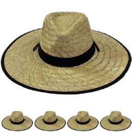 12 Units of Wide Brim Bamboo Straw Lightweight Man Sun Hat - Sun Hats