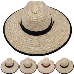 24 Units of Adults Large Black Brim Straw Hat - Sun Hats