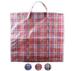 96 Units of XX-Large Plaid Woven Zipper Bag - Tote Bags & Slings