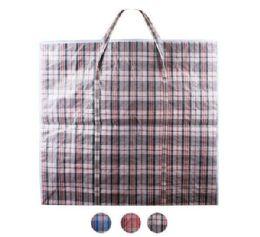 48 Units of Giant Plaid Woven Zipper Bag - Tote Bags & Slings