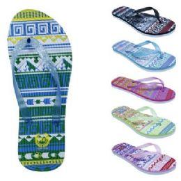 72 Units of Womens Ombre Tribal Flip Flop - Women's Flip Flops