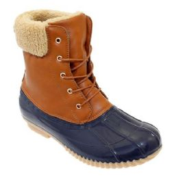12 Units of Womens Duck Boot In Tan Navy - Women's Boots