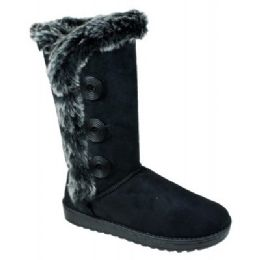 12 Units of Womens Button Fleece Boot In Black - Women's Boots