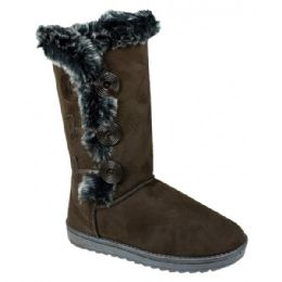 12 Units of Womens Button Fleece Boot In Brown - Women's Boots