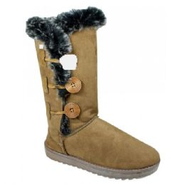 12 Units of Womens Button Fleece Boot In Tan - Women's Boots