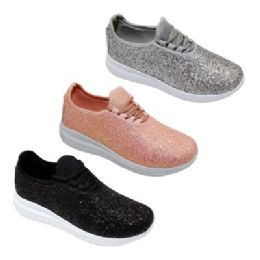 12 Units of Womens Glitter Lace Up Fashion Sneakers In Black - Women's Sneakers