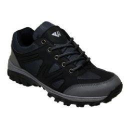 12 Units of Men' Lightweight Hiking Shoes In Black - Men's Sneakers