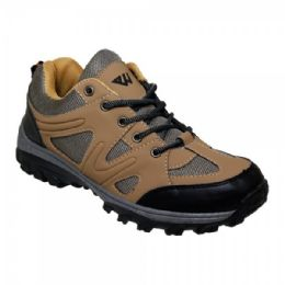 12 Units of Men' Lightweight Hiking Shoes In Brown - Men's Sneakers