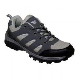 12 Units of Men' Lightweight Hiking Shoes In Black Gray - Men's Sneakers