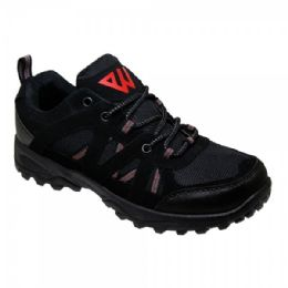 12 Units of Mens Lightweight Hiking Shoes In Black - Men's Sneakers