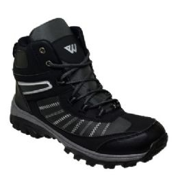 12 Units of Mens Lightweight Hiking Boots In Black - Men's Sneakers