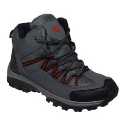 12 Units of Mens Lightweight Hiking Boots In Black Gray - Men's Sneakers
