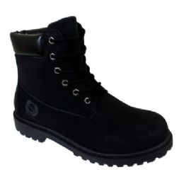 12 Units of Mens Lace Up Work Boot In Black - Men's Work Boots