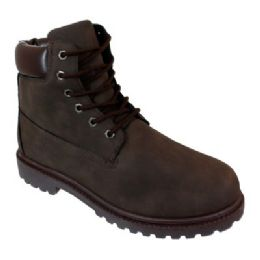 12 Units of Mens Lace Up Work Boot In Brown - Men's Work Boots