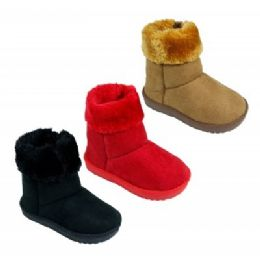 18 Units of Girls Fur Cuff Boots - Girls Boots