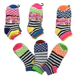36 Units of Three Pair Ladies teens Anklets Stripes Triangles - Womens Ankle Sock