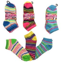 36 Units of Three Pair Ladies teens Anklets Thin Stripes - Womens Ankle Sock