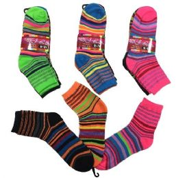 36 Units of Three Pair Ladies Teens Quarter Socks Thin Stripes - Womens Ankle Sock