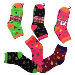 36 Units of Ladies Teens Quarter Socks Colorful Hearts - Womens Ankle Sock