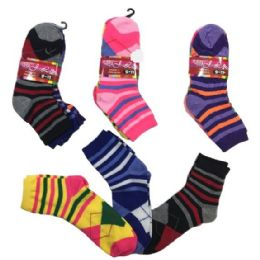 36 Units of Three Pair Ladies Teens Quarter Stripes Argyle - Womens Ankle Sock
