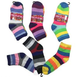 36 Units of Three Pair Ladies Teens Quarter Wide Stripes - Womens Ankle Sock